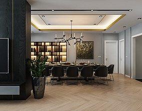 Apartment- Living room hall kichen scene 3D model 3D