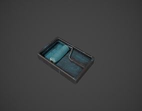 3D asset Paint Roller and Tray - Blue Paint
