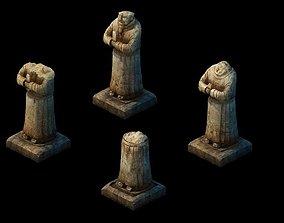 Game model - Broken hero stone carving 3D
