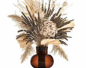 3D Bouquet of dried flowers in a glass vase 136