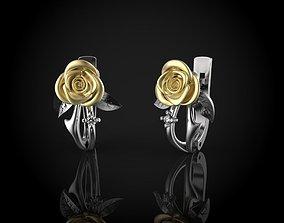 3D printable model Rose earrings rose