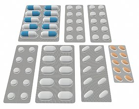 3D Pills in blister pack collection mock up