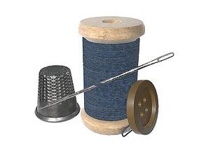 3D model Thread needle button thimble coil