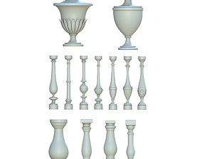 Balusters and urn 3D model