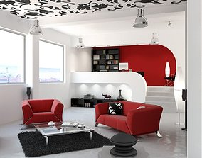 Spacious Living Room With Red Sofas 3D model