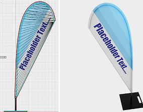 3D asset Beachflag 1 Low-Poly