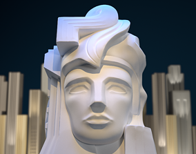 3D printable model Art Deco style bust sculpture Pacifica