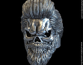 3D print model Skull with beard vol1 ring jewelry