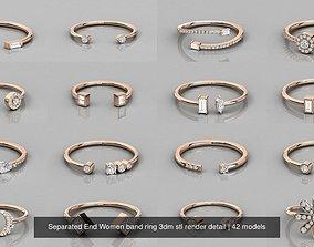 Separated End Women band ring 3dm stl render detail