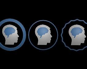 3D asset low-poly Low poly brain symbol 7