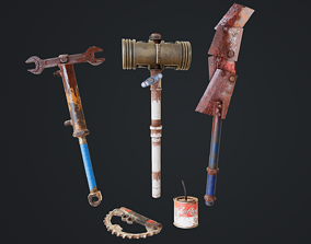 Post Apocalyptic Weapon Pack 3D asset