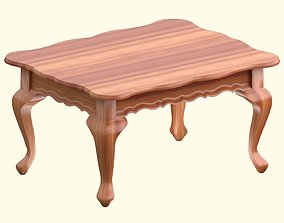 Victorian wooden coffee table Lowpoly 3D model low-poly