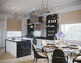3D model Interior Neoclassic Kitchen 02