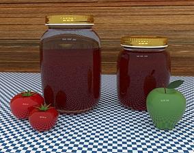 Preserve Kitchen Jar with Fruit 3D model