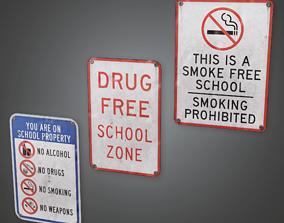3D model Wall Poster School - CLA - PBR Game Ready