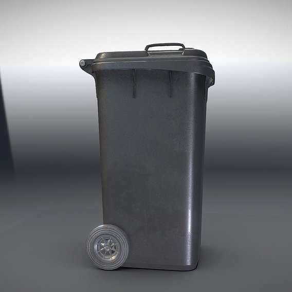 Black Plastic Waste Bin 240 Liters 945x393x480