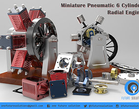 3D model Miniature Pneumatic 6 Cylinder Radial Engine