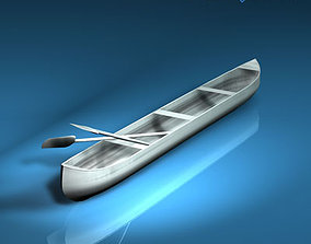 Canoe with paddles 3D