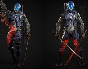 3D asset rigged Cyberpunk Samurai