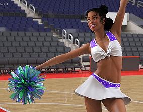 Teenage Light Skin Black Girl Cheerleader Rigged 3D model