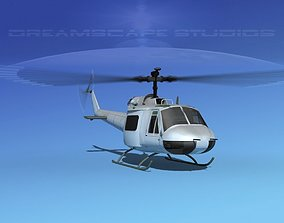 3D model animated Bell 204 Bare Metal