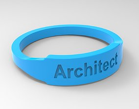 font 3D print model Architect Female Ring Blue