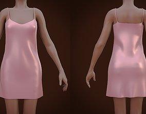 Silk cami dress - Satin nightdress 3D asset
