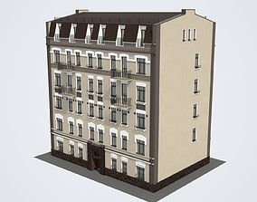 Facade of the building Moscow Pushkarev lane 3D model