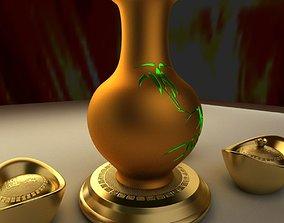 Chinese gold ingot 3D model realtime