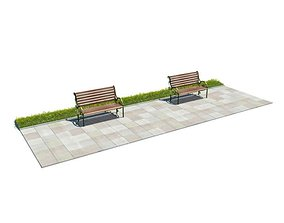 Outdoor Walkway With Benches 3D