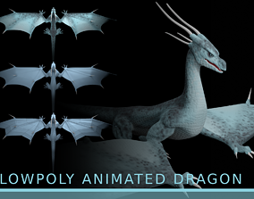 LowPoly Flying Sky Dragon 3D asset animated