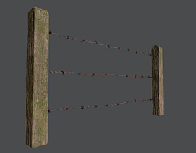 Wood Fence 01 3D asset
