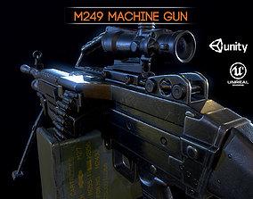 3D asset M249 and Acog Scope Light Machine Gun PBR
