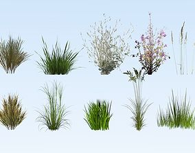 Lowpoly grass set 3D model