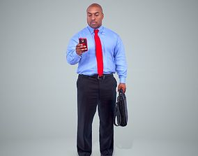 Business Man with Phone and Suitcase 3D model