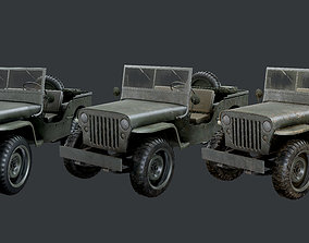 WW2 Willys Jeep Vehicle Game Ready Low Poly 3D asset