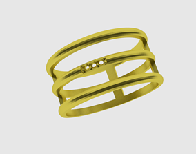 3D print model ring from three strips 1mm stones