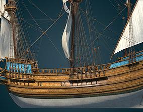 3D model VR / AR ready Half Moon 17th century Galleon