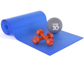 3D Yoga Mat and Dumbbells