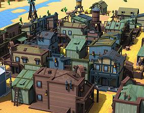Western Pixel Town 3D model VR / AR ready