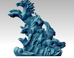 3D printable model horses statue