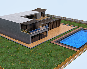 3D road House with pool