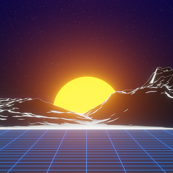 Retrowave Outrun Neon Scene Blender EEVEE