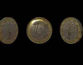 1 Euro Coin - France 3D model