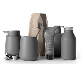 Refill Bottles Vase Teeth Brush and Shaving Gel 3D