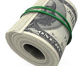 Lowpoly Dollar Roll 3D asset