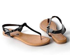 3D Black Toe Post Flat Sandals