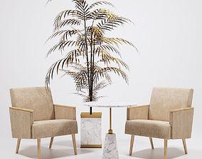 3D asset Jasper Armchairs and golden palm