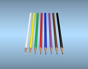 3D model Set of multi-colored pencils