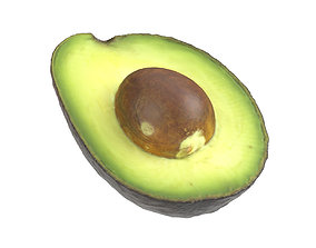 Photorealistic Avocado Half 3D Scan kitchen